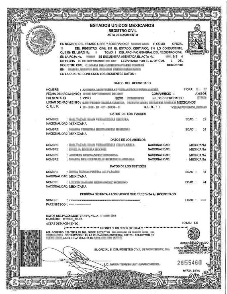 Spanish birth certificate translation burg translations for Mexican birth certificate translation template